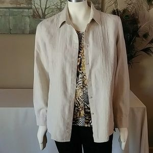 Sz 14 Oatmeal Linen Blouse by Charter Club